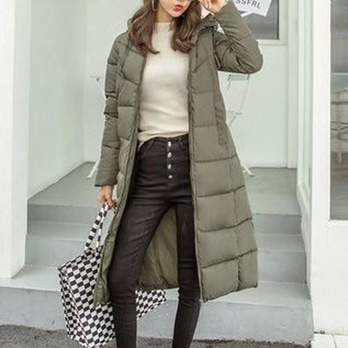 【アウター】大きいサイズ寒さ対策無地フード付きマキシ丈合わせやすいダウンコート24155857