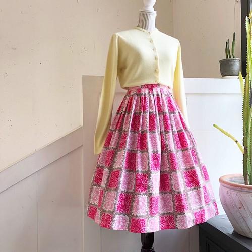 VINTAGE pink flower print cotton skirt
