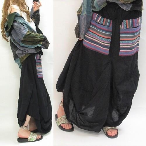 バルーン変形 ゲレ織りBIGポケット エスニック 南国リゾート スカート ブラック