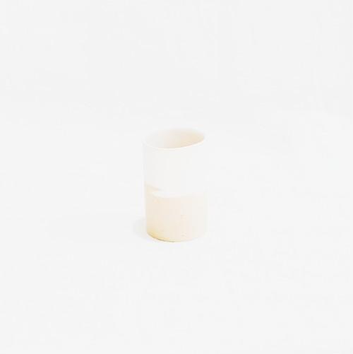 アイスカップ 白×黄土