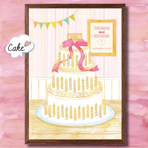 【40%OFF】 ウェルカムボード ウェディングツリー 【Cake Mサイズ】 【送料無料】 結婚式・祝い・スタンプ・おしゃれ・イラスト・名入れ・オーダーメイド・フレーム付