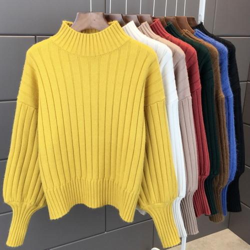 ハイネック パフ袖 ニット セーター 8色