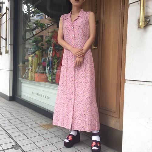90's Pink flower long dress