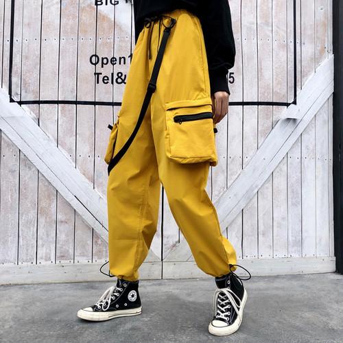 【ボトムス】ファッションハイウエスト無地カジュアルパンツ25554775