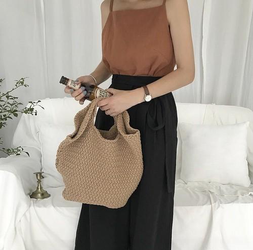 【バッグ】新作オールシーズン合成繊維手持ち無地シンプルカゴバッグ