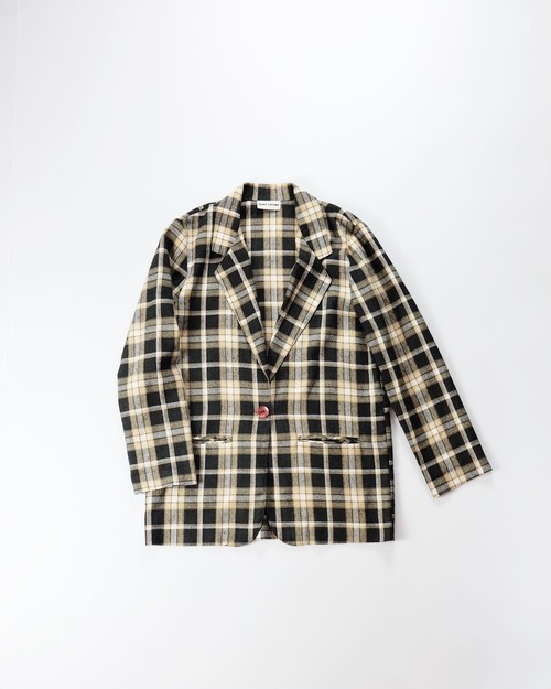 beige old plaid jacket