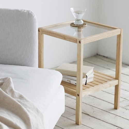 glass wood side table 3colors / ガラス ウッド サイドテーブル 韓国 北欧