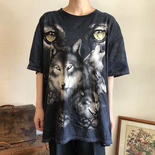 オオカミ Tシャツ タイダイ