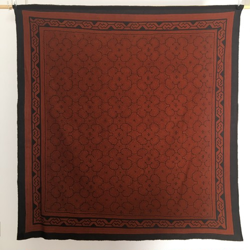 大判茶155x150cm-22 柔らか系 シンプル飾り アマゾンの泥染め シピボ族 天然染め  AAA