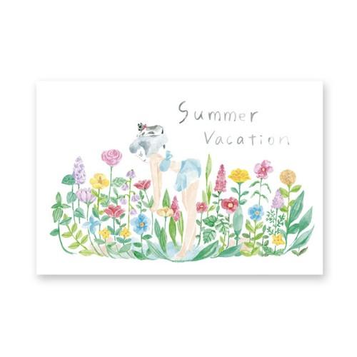 夏のカード summer vacation 花とおよぐ
