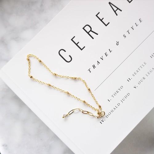 送料無料 gold metal*labradorite 2WAY station bracelet / anklet