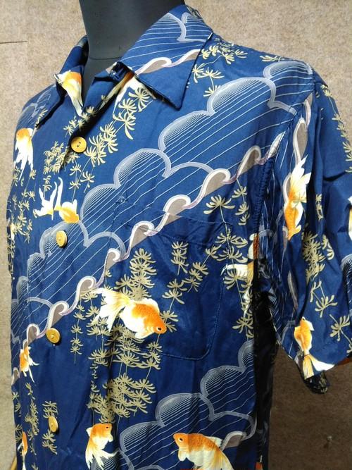 アウトバーン 和柄 金魚 アロハシャツ L 紺 u1072c