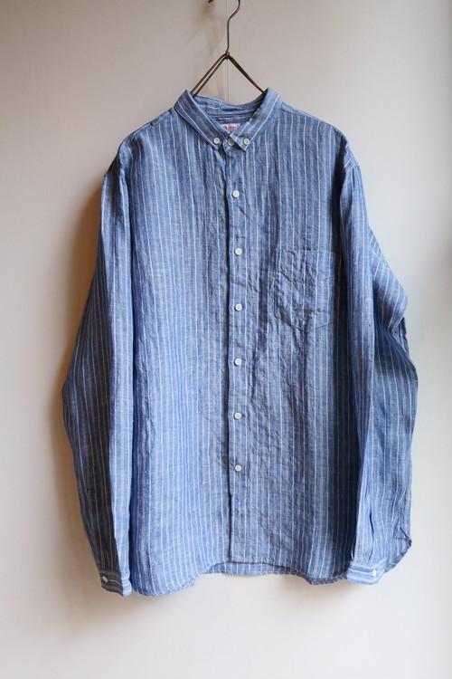 OLDMAN'S TAILOR リネンスモールボタンダウンシャツ BLUE&WHITE STRIPE #SA332 メンズ【お問い合わせ商品】