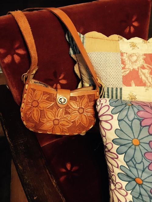 Flower Embossed Leather Mini Shoulder Bag