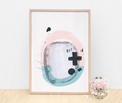 Sound / A4 Pink and Blue Art Print