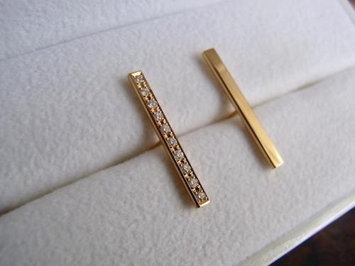 Diamond Gauge - Gold Barセットピアス(ロング2cm)