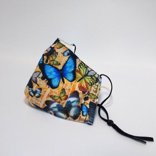 家紋装飾蝶 和柄ファッションマスク フィルターポケット付
