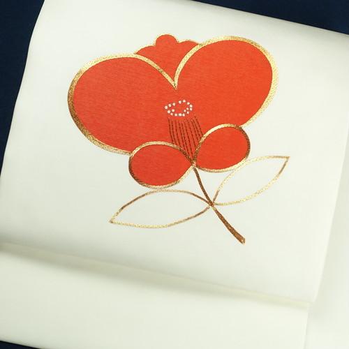 椿 正絹名古屋帯【0831】