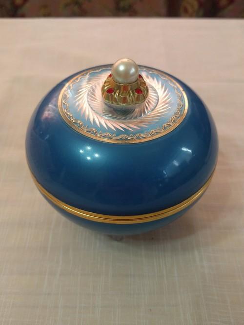 ヴィンテージ ブルーのオルゴール アメリカ レトロ インテリア小物 ディスプレイに