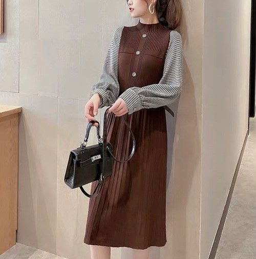 knit belt dress 3color