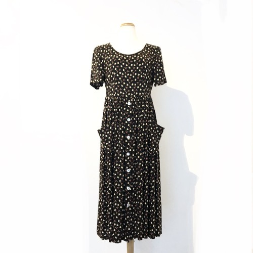 Floral Print Rayon Back Bow Pocket Dress / 花柄ポケット付き後ろリボンワンピース