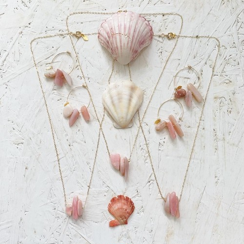 Pink opal tumble necklace