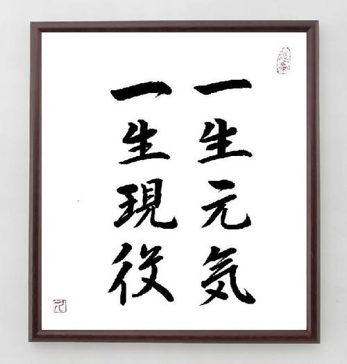 名言色紙『一生元気、一生現役』額付き/直筆済み/A0134