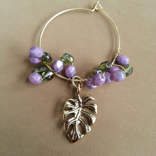 purple beads× monstera