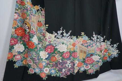 作家物 黒留袖 友禅 比翼仕立て 正絹 五つ紋 花柄 096