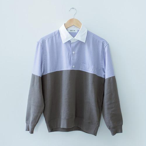 WFH Jammies Blue Stripe Shirt x Dark Grey Jersey (Top Only)