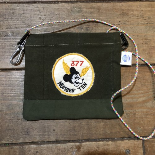 Vintage Tent Cloth Sacoche with patch, Mouse