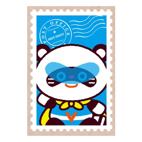 ポコ助ポストカード 切手(あお)