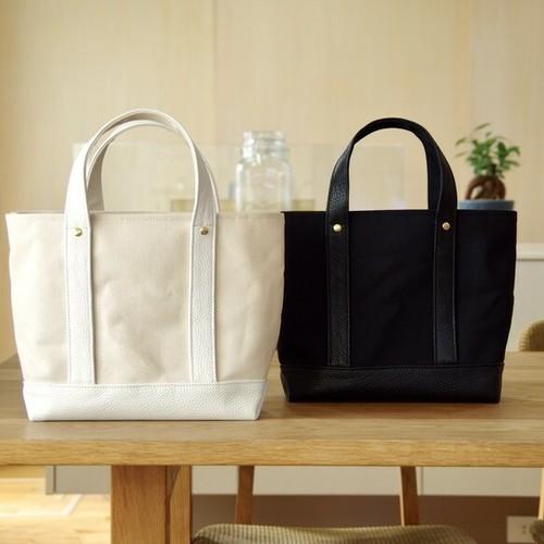 組み合わせ自由 倉敷帆布×イタリアンレザーのトートバッグ ホワイトベース