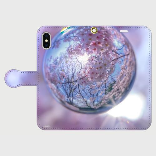 (iPhoneX以降)桜の宇宙(kagaya)_手帳タイプ