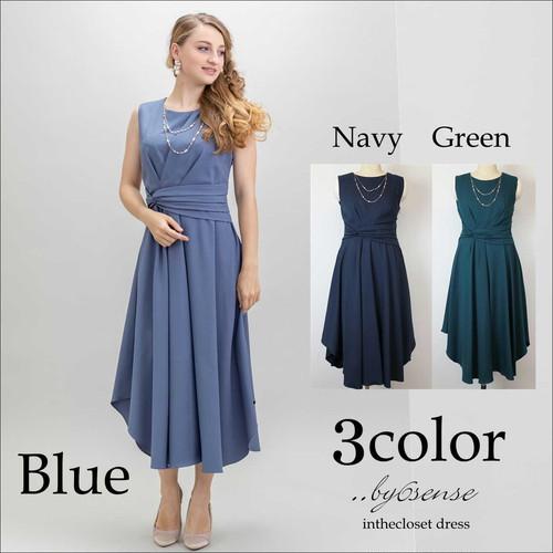 2連パールネックレス付きウエストツイストセミロング丈ドレス【大きいサイズ L~XLサイズ】DorryDoll