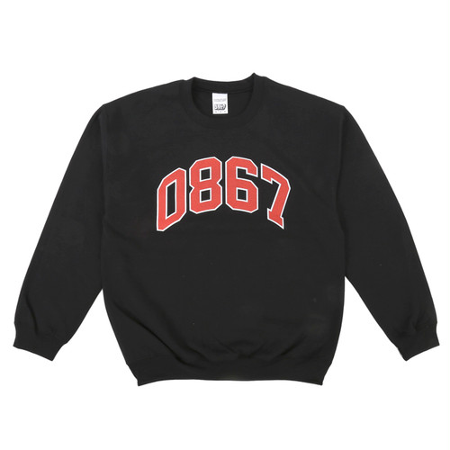 0867 / Sweatshirt / College / Logo / Black×Red