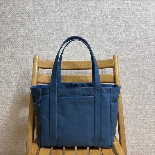 「混合トート」中サイズ「ミネラルブルー」 帆布トートバッグ 倉敷帆布8号【受注制作】