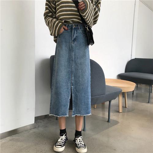 【ボトムス】Aラインスリット無地スカート19527833