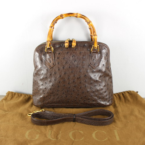 .GUCCI BAMBOO OSTRICH LEATHER 2WAY SHOULDER BAG MADE IN ITALY/グッチバンブーオーストリッチレザー2wayショルダーバッグ 2000000044064