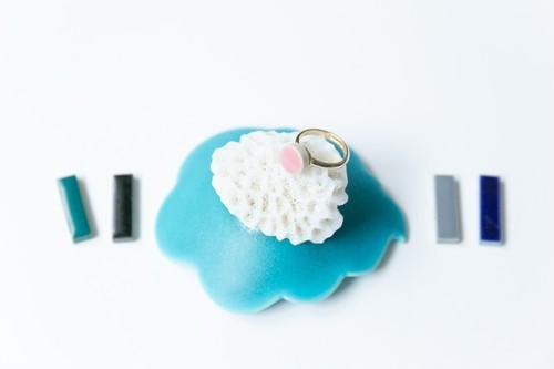 003-r 伝統文化品美濃焼多治見丸タイル指輪・リング(フリーサイズ) ※証明書付