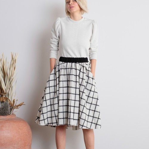 Wool Plaid Skirt / WHITE ✕ BLACK