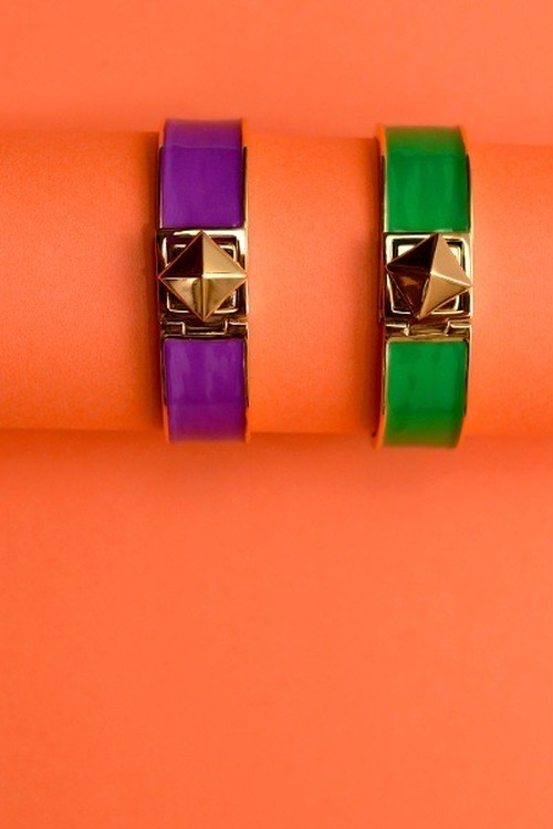 Kate Spade Locked in thin bangle (green)