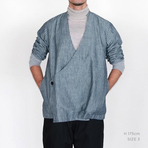 JK-27 立衿作務衣 7ozデニム 細縞