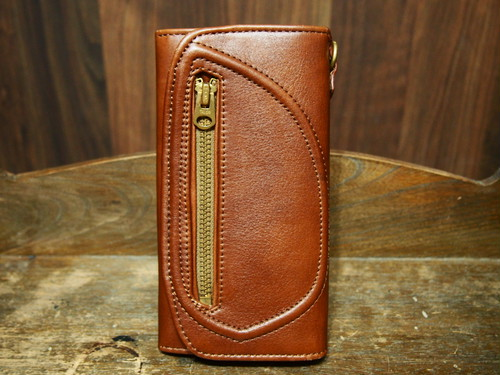 D-POCKET LONG WALLET(BROWN × BRASS GOLD)