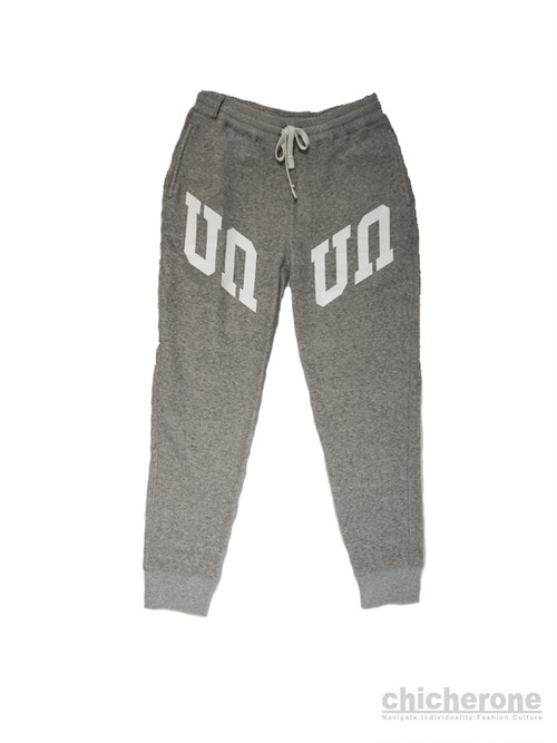 【UAUA】GRID LOGO FIT SWEAT PANT GREY