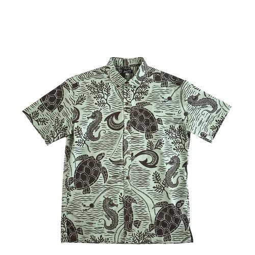 Mountain Men's ボタンダウンアロハシャツ / Sea good  / KHAKI