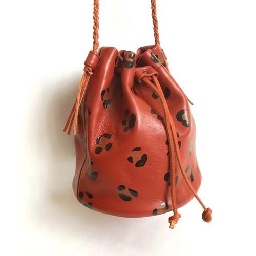 【SALE】Leopard Drawstring Bag 《brown》