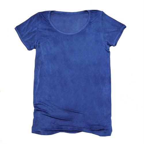【予約受付中】藍染めシルク100%半袖カットソー~紺瑠璃(こんるり)~