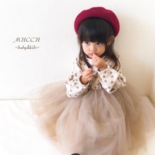 送料無料!【予約販売】ドット チュール ワンピース 80cm〜130cm ドレス クラシカル 女の子 姉妹コーデ 双子コーデ 出産祝い