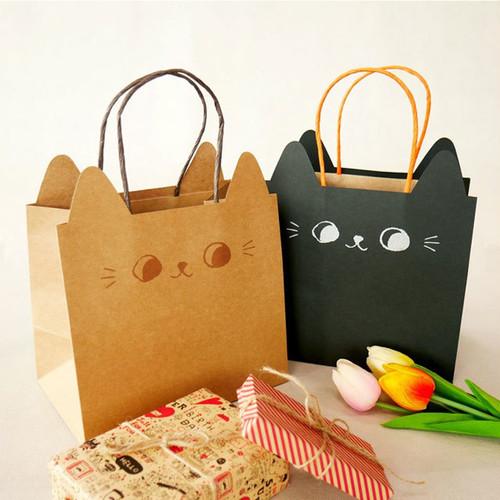 ラッピングバッグ 猫耳手提げ紙袋(中)